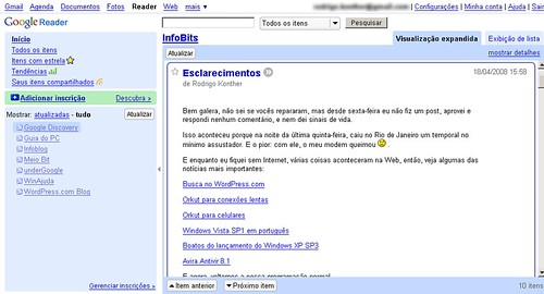 Screenshot do Google Reader