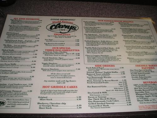Clary's menu