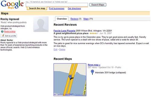 Google Maps profile page