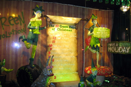 12 Green Days of Chirstmas was the theme of one of Barneys decorated windows last year.  Picture from wallyg via Flickr.