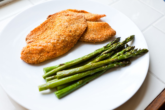 oven-fried tilapia and asparagus