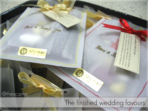 The finished wedding favours