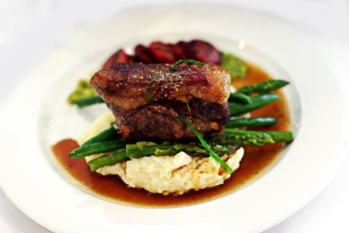 Roast Lamb with asparagus, beans and mashed potato