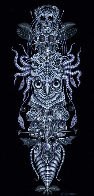 "SPINAL TOTEM TATTOO. Acrylic on canvas ~ Size: 12 X 24"" (30.5 x 60.9 cm)"