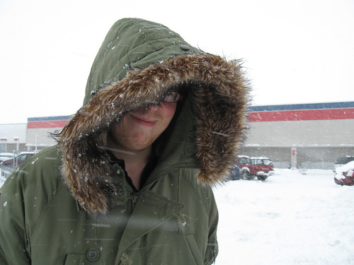 Grocery shopping in a blizzard.