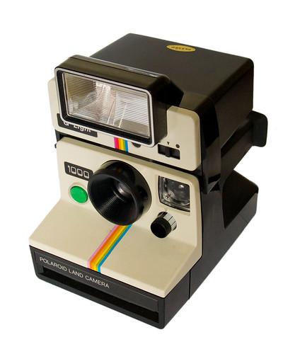 Polaroid Land Camera 1000 & Q-Light electronic flash (three-quarter view) by Timmy Toucan