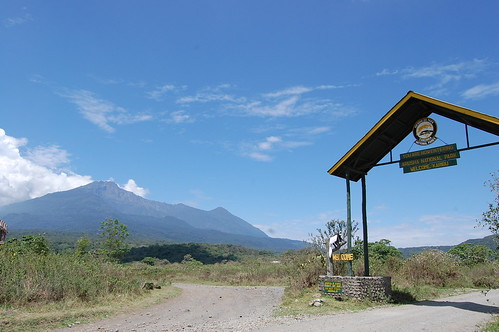 Arusha National Park gate with Mt. Meru in the background