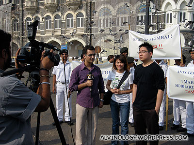 We were grabbed by this journalist from News X after our first interview
