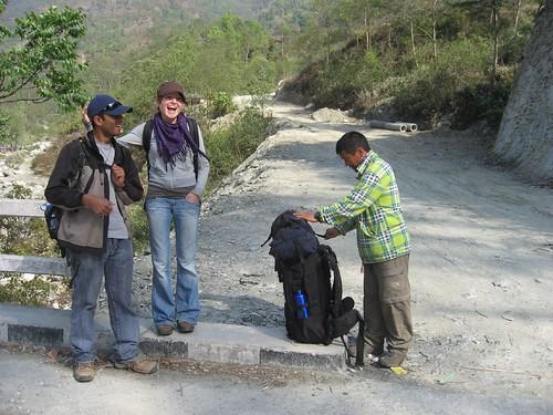 Starting point of trek (from left - Mohan/guide, Gela, Nima/porter)