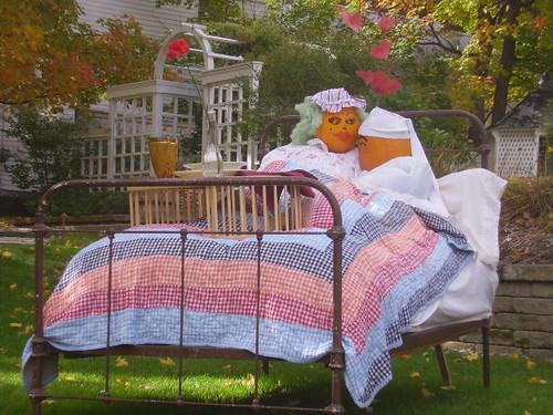Pumpkins in bed together