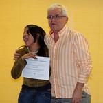 """Viviana receiving her citizen journalist diploma from Alvaro. <a style=""""margin-left:10px; font-size:0.8em;"""" href=""""http://www.flickr.com/photos/36521966868@N01/2126130678/"""" target=""""_blank"""">@flickr</a>"""