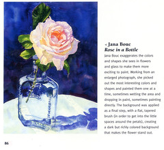 My rose and bottle in the Watercolor Flower Artist's Bible
