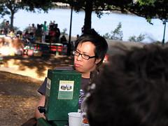 Jen-Tsen, cask wine, New Farm Park (and the back of Monica's head)