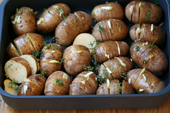 Hedgehog Potatoes with WG Mustard Vinaigrette raw
