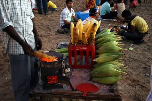 Roasting corn on Juhu Beach, Mumbai-Bombay, India