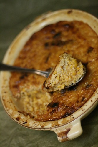 Baked Dried Corn Casserole with Dried Peppers