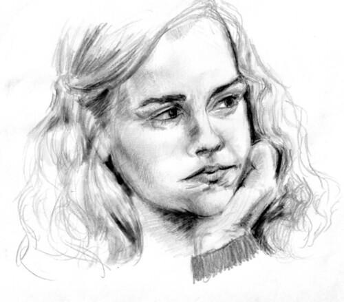 Pencil portrait sketch emma watson