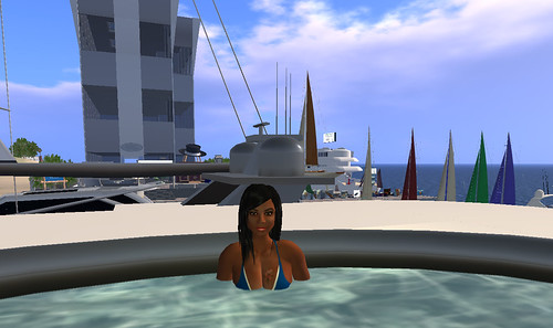 in the yacht pool