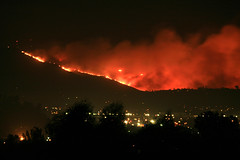Mt. San Miguel on fire.  San Diego wildfire as seen looking south from my backyard in Santee.