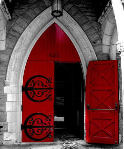 A red door in Montreal, February 2007