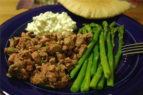 Ethiopian beef tartare, curds, pita and asparagus