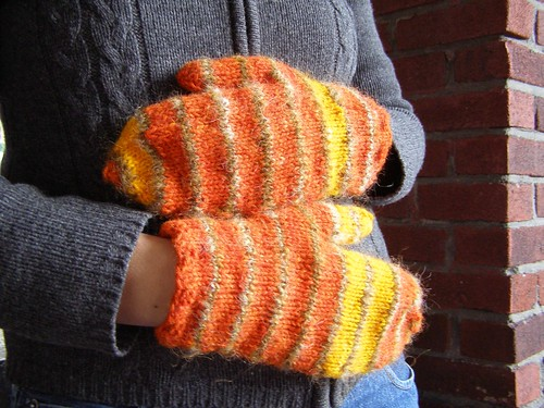orange rothko mitts - modeled