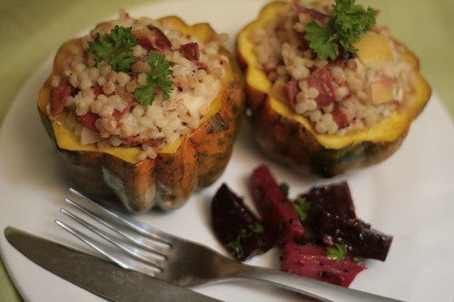 Stuffed Acorn Squash with a side of sauteed beets
