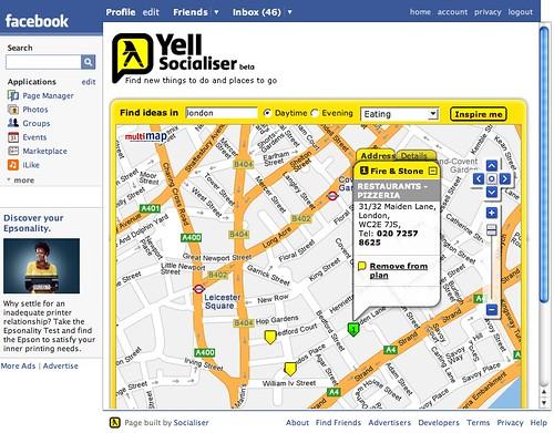 Yell facebook app 2