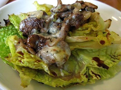 savoy cabbage and hedgehog mushrooms