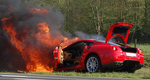 Ferrari 599 GTB Burning by wreckedexotics.