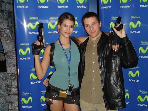 Con Karima Adebibe en la presentación de Tomb Raider