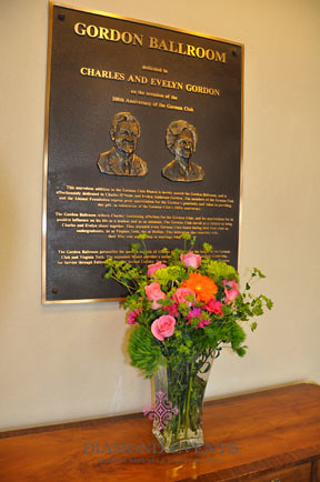 Memorial Flowers at entrance to German Club ballroom