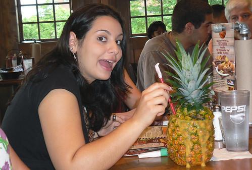 20090524 - Samantha's 21st birthday - Samantha with pineapple drink, Frank, Tim - (by Vicky) - 3569032876_eaf95cf822_o