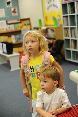 visiting her kindergarten teacher