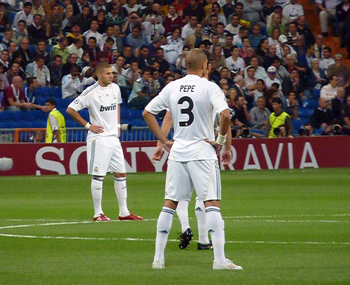Pepe and Benzema before kick off