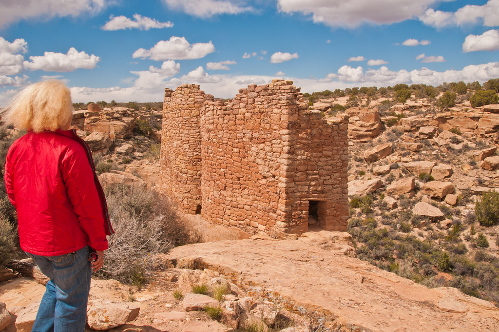 Chris looking at the Twin Towers, Hovenweep