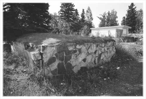 Rock retaining wall, midtown Anchorage.