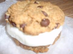 Peanut butter chocolate chip cookie vegan soft serve sandwich
