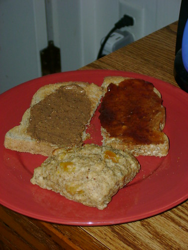 Toast With Mocha Peanut Butter And Strawberry Jam, Loaded Scone