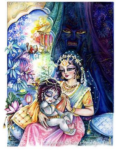 Krishna and Putana - ISKCON desire tree