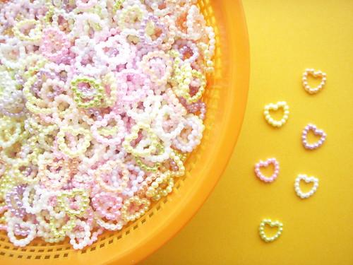 Kawaii Heart Ring Embellishment Pearly Decor Plastic DIY Japan
