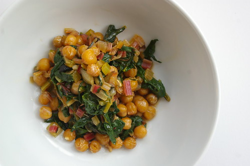 Roasted Chickpeas with Chard