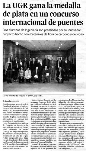Recorte de prensa de Granada Hoy, del 12/01/2009, pág. 12