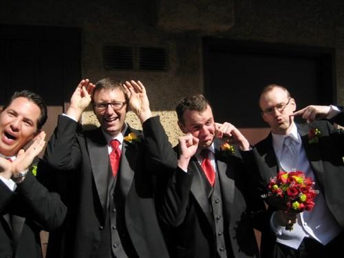 Groom and groomsmen making CUTE faces