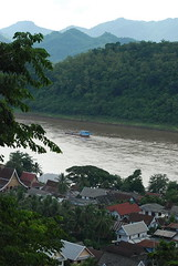 The town of Louang Prabang with the Mekong River running through it