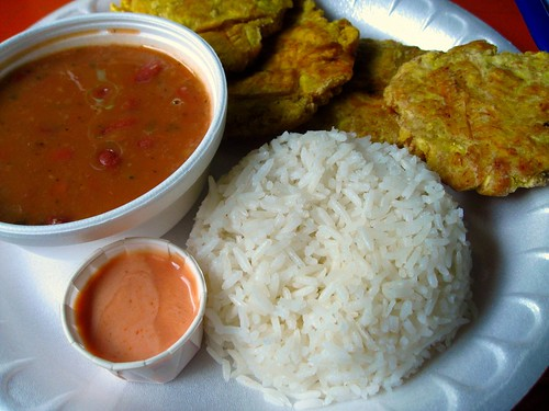 tostones with red beans and rice