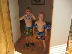 Drew and Beau Ready to Swim