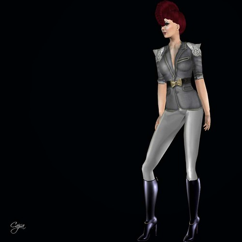 Fashionably Deads Shiny Shiny Magic Pants left in their untinted slver glory are a fine complement. So are the Stiletto Moody boots. I had not worn these in awhile and discovered SL broke the old script in Feb. So for many SM boots and shoes, you do need to stop by the store and get updates if you bought them before February (yeah, I know i am late to this party) Its not that I didnt try to wear them earlier, I just blamed lag. Anyway, just go there, you dont even have to be wearing them because your purchase is in their database.
