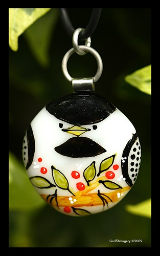 Chubby Chickadee....fused glass pendant by Sandra Miller