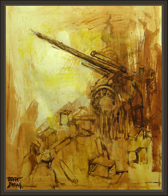 WW2-WWII-PAINTINGS-PINTURAS-ERNEST DESCALS-ARTILLERIA-ART-GERMAN ARMY-WEHRMATCH